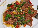 Spicy ostrich slices at A. Mallika, Bangkok