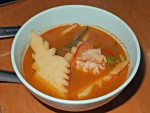 Very hot and sour soup with shrimp and coconut shoots