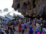 "A congested boat landing on ""James Bond Island"" in Phang-nga Bay"