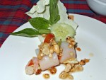 Green Papaya Salad in a Rice Noodle Roll at Ban Suan Sudaporn in Trang