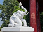 Kneeling elephant lamp post at Wat Nantaram, Chiang Kham