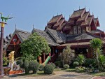 Elaborate Teak Building at Wat Nantaram, ChiangKham