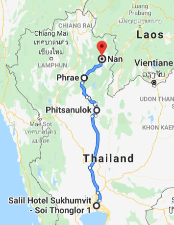 Map from Bangkok to Nan