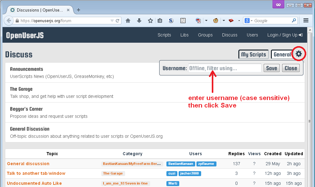 screen shot showing the username entry form for offline filtering