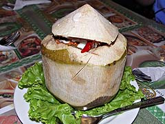 Seafood curry in a young coconut at Toh Plue