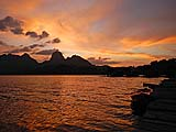 Sunset view from Kee Ree Warin resort, Cheow Lan Lake, Khao Sok park