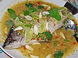 Steamed fish with hot and sour dressing, Lipe Resort
