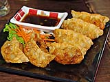 Crunchy deep fried pot stickers at Dim Sum place in Nakhon Si Thammarat