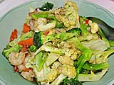 Mixed vegetables with shrimp at Sun's place, Nakhon Si Thammarat