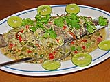 Steamed fish in garlicky lime dressing at Jansom Hot Spa Resort