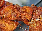 Amazingly crunchy fried chicken at the market, Takua Pa