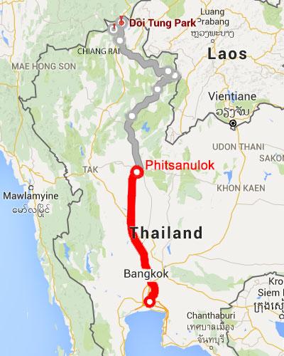 Phitsanulok Thailand Map.First Leg Bangkok To Phitsanulok Tasting The World